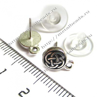 Пуссеты TierraCast с заглушками 94-1070-12 (antique silver)