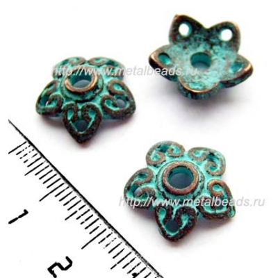 Чашечка бусины 3980 (antique copper with green patina)