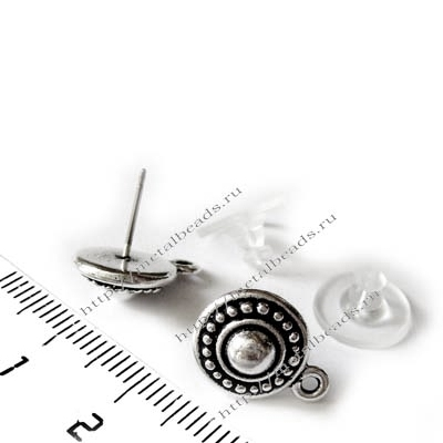Пуссеты TierraCast с заглушками 94-1011-12 (antique silver)