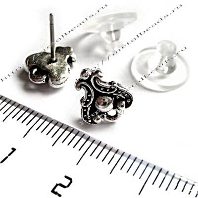 Пуссеты TierraCast с заглушками 94-1054-12 (antique silver)