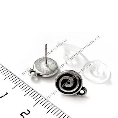 Пуссеты TierraCast с заглушками 94-1071-12 (antique silver)