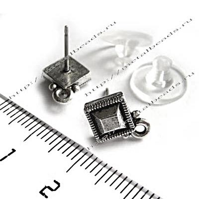 Пуссеты TierraCast с заглушками 94-1076-12 (antique silver)
