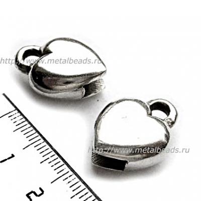 Пара концевиков для вклеивания плоского шнура 5995 (antique silver)