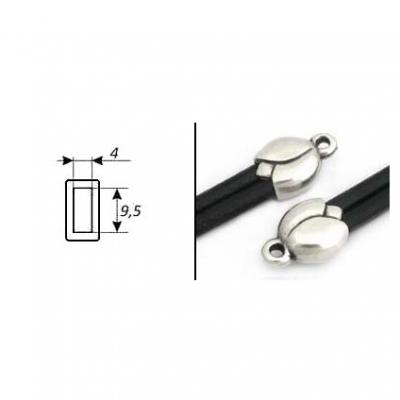 Пара концевиков для вклеивания плоского шнура 5996 (antique silver)