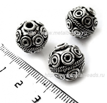 !УЦЕНКА! Бусина металлическая INDIA/AS/0048 (antique silver)