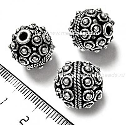!УЦЕНКА! Бусина металлическая INDIA/AS/0082 (antique silver)