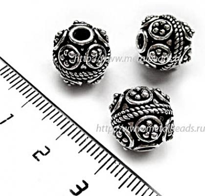 !УЦЕНКА! Бусина металлическая INDIA/AS/0052 (antique silver)