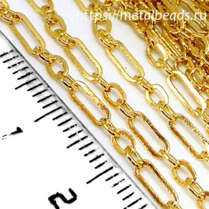 Цепочка c плоскими звеньями позолоченная FIGARO/BG/0205 (bright gold)