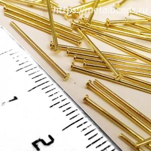 Пины с шляпкой 1,2мм позолоченные длиной 16мм bright gold  (упаковка 10шт.)
