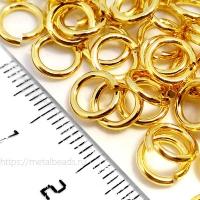 """Колечки соединительные одинарные Tierracast 01-0020-09 (7,5мм/16ga) """"bright gold"""" (упаковка 10шт.)"""