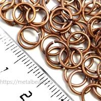 """Колечки соединительные одинарные Tierracast 01-0025-18 (7,2мм/19ga) """"oxidized copper"""" (упаковка 10шт.)"""