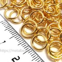 """Колечки соединительные одинарные Tierracast 01-0025-09 (7,2мм/19ga) """"bright gold"""" (упаковка 10шт.)"""