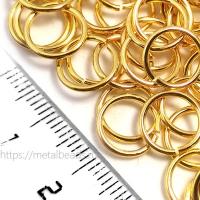 """Колечки соединительные одинарные Tierracast 01-0026-09 (9,8мм/18ga) """"bright gold"""" (упаковка 10шт.)"""