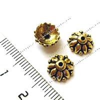 "Чашечка бусины TierraCast 94-5569-26 (antique gold) ""10mm DHARMA"""