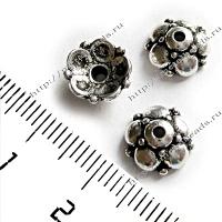 "Чашечка бусины TierraCast 94-5606-12 (antique silver) ""9mm EASTERN"""