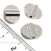 "Бусина металлическая TierraCast 94-5819-61 (bright rhodium) ""DOUBLE HAMMERED"""