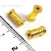 "Бусина металлическая TierraCast 94-5822-25 (bright gold) ""10mm HAMMERED"""