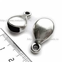 Пара концевиков для вклеивания плоского шнура 5997 (antique silver)