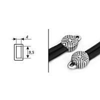 Пара концевиков для вклеивания плоского шнура 5999 (antique silver)