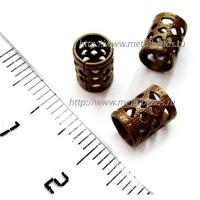 "Бусина металлическая TrinityBrassCo VP/1101 (vintage patina) ""FILIGREE TUBE 8 mm"""