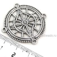 Коннектор 8354 двусторонний (antique silver)