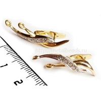 Швензы с английским замком BG/2390 с кристаллами Swarovski  (bright gold)