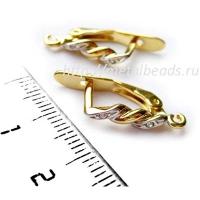 Швензы с английским замком BG/0653 с кристаллами Swarovski  (bright gold)