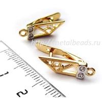 Швензы с английским замком BG/0773 с кристаллами Swarovski  (bright gold)