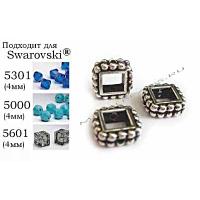"Рамка бусины TierraCast 94-5653-12 (antique silver) ""4mm SQUARE"""
